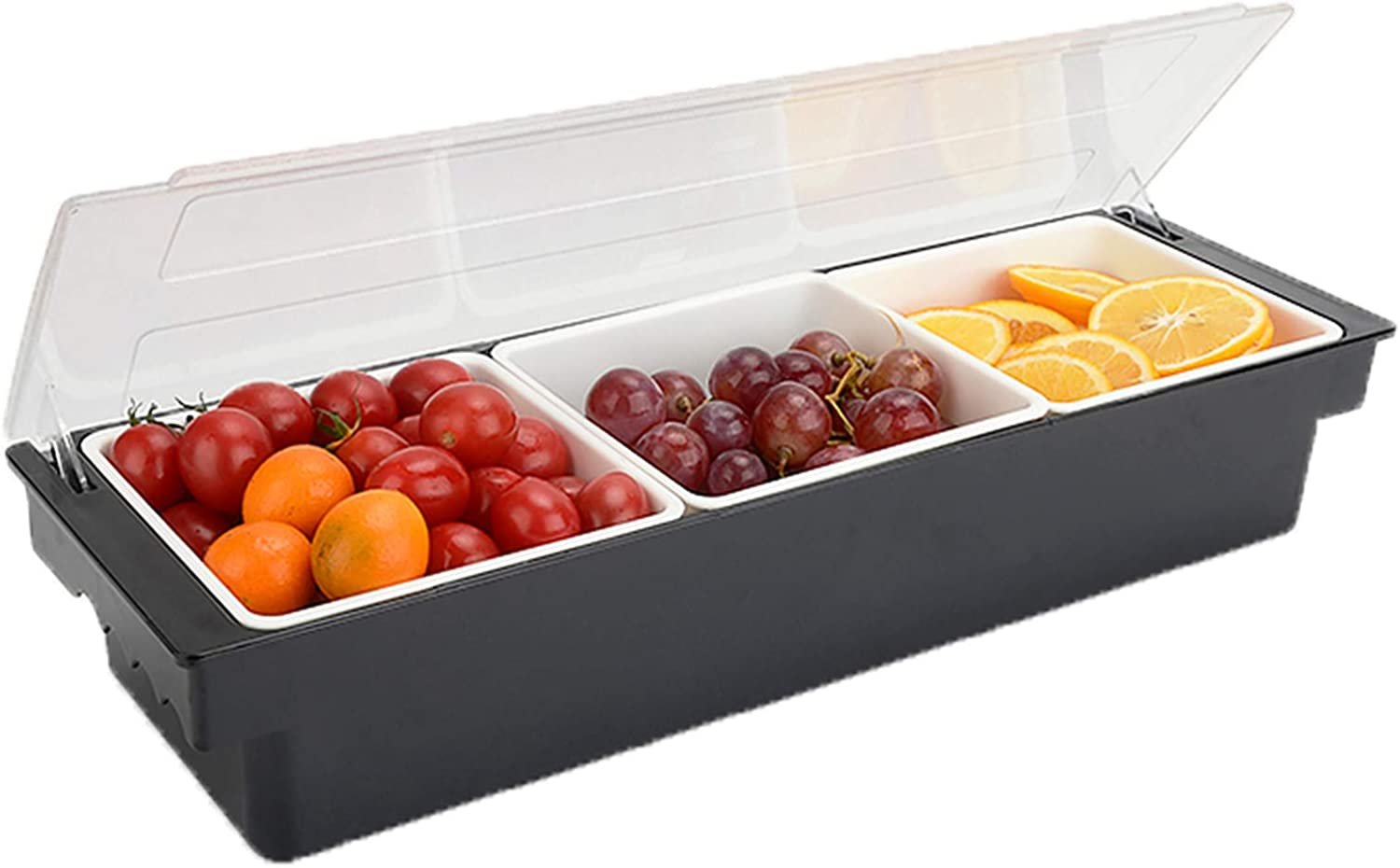 FEOOWV Fruit Veggie Condiment Caddy with Lid, 3 Compartment Plastic Dispenser Tray for Catering Dips Toppings, Garnish Organizer for Restaurant Supplies