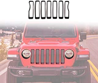Vijay Black Front Grille Grill Inserts Trim for 2018-2019 Jeep Wrangler Rubicon Sahara Sport JL/JLU Unlimited Accessories (7 Pack)