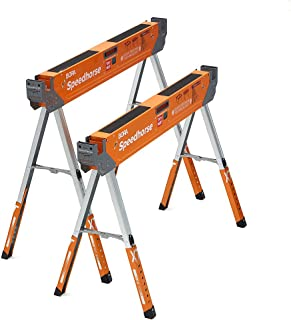Bora Portamate Speedhorse XT Adjustable Height Sawhorse Pair- Two pack, 30-36 inch height adjustable Legs, Metal Top for 2...