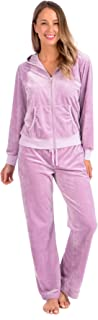 Women's Soft Velour Hoodie and Velour Pants Everyday Tracksuit Set