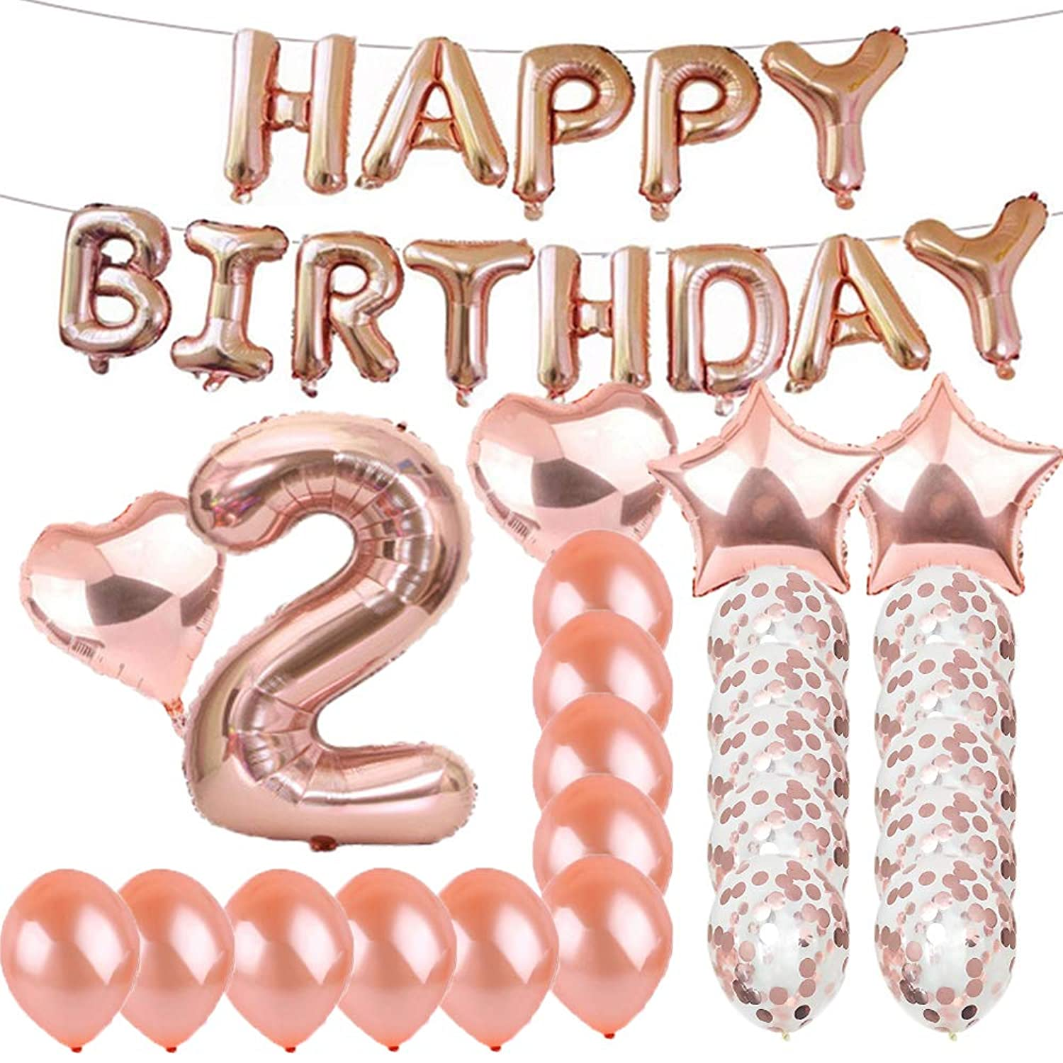 Sweet 2th Birthday Decorations Party Supplies,Rose Gold Number 2 Balloons,2th Foil Mylar Balloons Latex Balloon Decoration,Great 2th Birthday Gifts for Girls,Women,Men,Photo Props