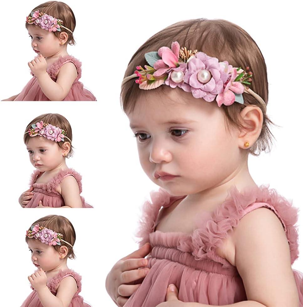 Wiwpar Flower Crown Headband Bead Headwear Elastic Adjustable Head Piece Girl's Hairbands for Toddler and Childrens (Light Purple)