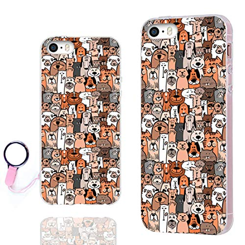 iPhone 5S Case,iPhone 5 case,iPhone SE case,ChiChiC Full Protective Stylish Case Slim Durable Soft TPU Cases Cover for iPhone 5 5g 5S SE,Cartoon Animal Pet Cute Brown Dog Puppy and Cat Smile