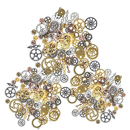 Antique steampunk gear charms. A superb selection of high quality assorted vintage alloy steampunk cogs and gears. Diameter: 7mm-30mm Material: Lead and cadmium free Zinc alloy with plating treatment. Color: Mixed color, gold, rose gold, silver, blac...