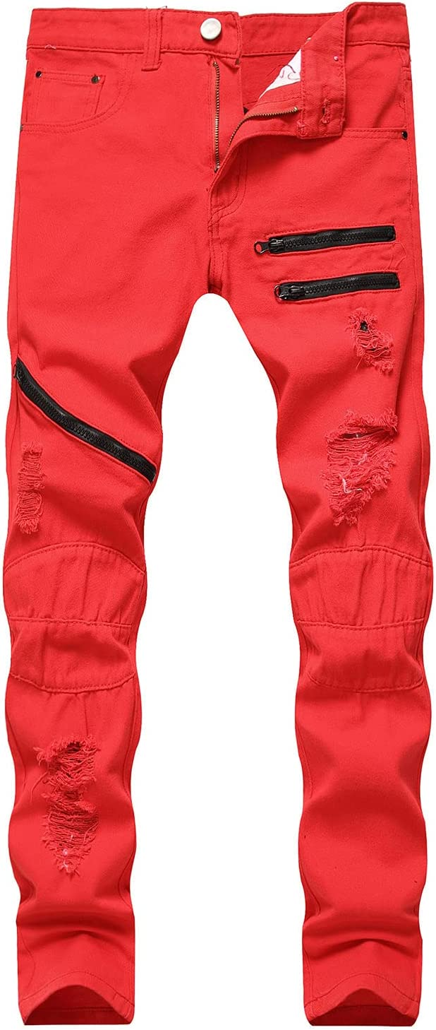 Men Ripped Skinny Distressed Destroyed Straight Fit Zipper Jeans Vintage Jean Trousers with Hole (Red,32)