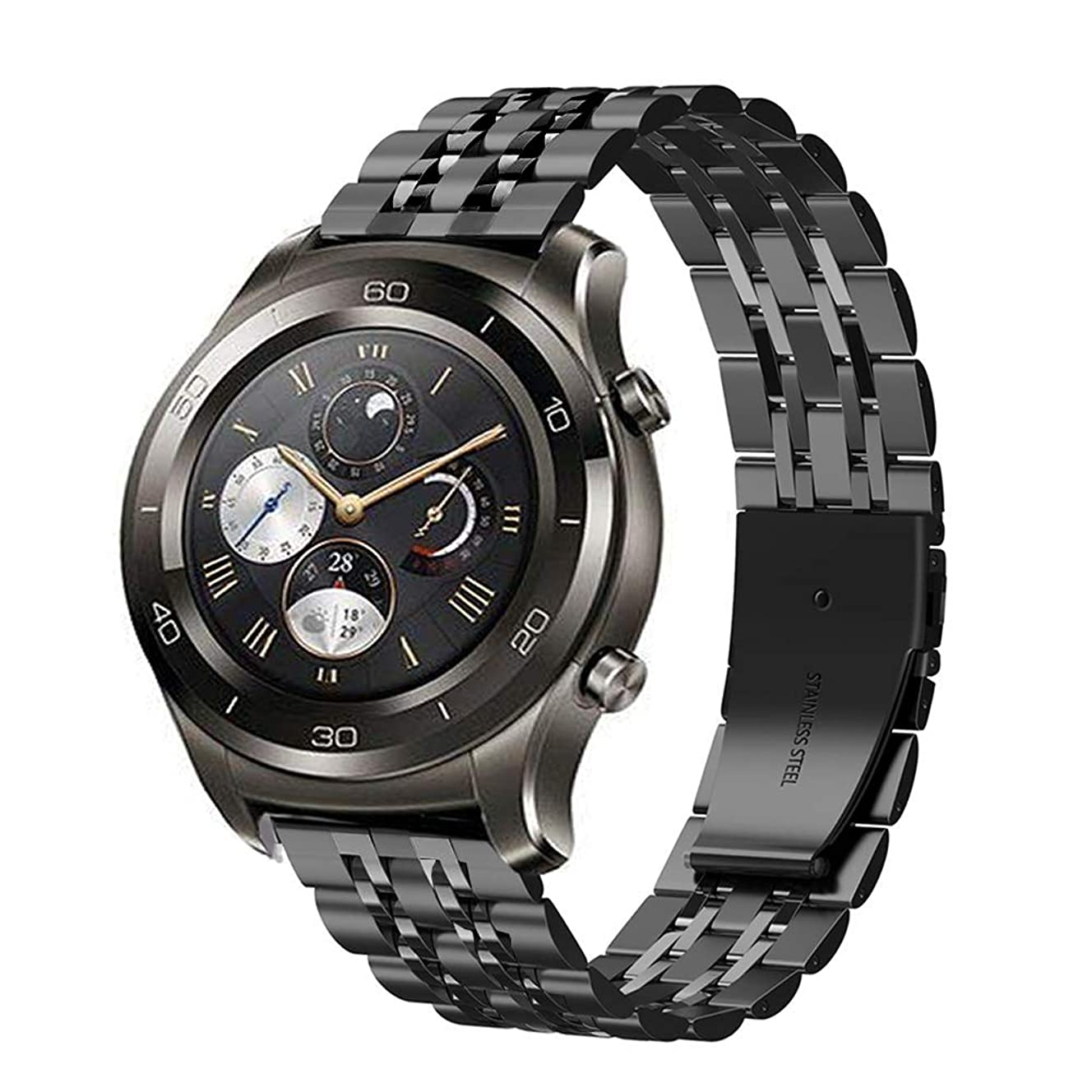 あご目に見えるバルセロナOmter Compatible with Ticwatch Pro/E2/S2 Samsung Galaxy Watch 46mm/Gear S3 Classic/Frontier/Huawei Watch GT/Watch 2 Classic バンド 22mm 高品質なステンレススチール製バンド、ビジネス風のベルト (ブラック2)