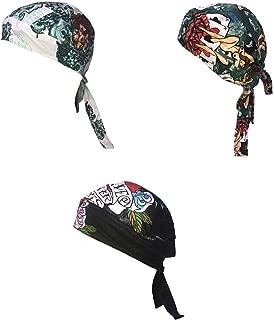 Danbanna Deluxe Lot Set of 3 Tattoo Pinup Girls True Love Roses Biker Durag Head Wrap Cap Hat Sweatband