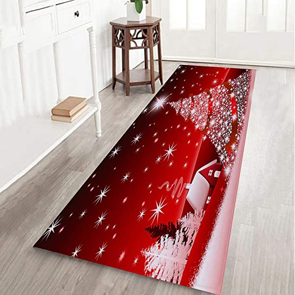 Clearance Christmas Non Slip Carpet Yezijin Merry Christmas Welcome Doormats Indoor Home Carpets Decor 40x120CM I