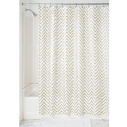 Price comparison product image iDesign Sketched Chevron Fabric Shower Curtain,  Polyester Shower Curtain,  Gold