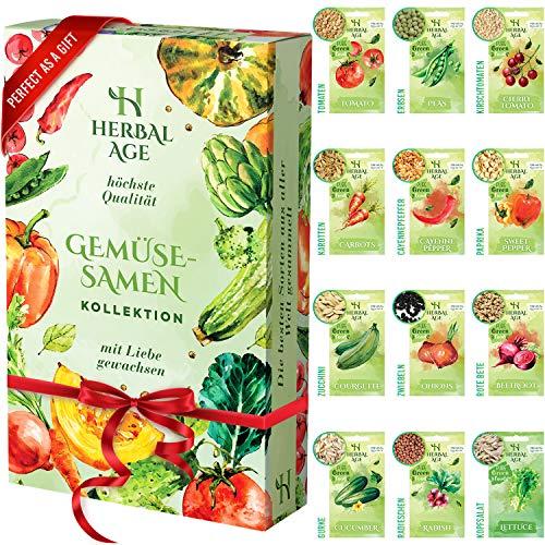 12 Samen Sortiment - 5100 Samen anbauen, Gemüsesamen zum Pflanzen - Tomate, Paprika, Zwiebel, Salat, Zucchini, Gurke, Kirschtomate, Möhren, Erbsen, Rote Beete, Cayennepfeffer Fertig zum Samen anbauen
