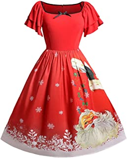iDeesse Women's Plus Size Christmas Short Sleeve Square Collar Santa Claus Dress
