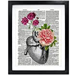 Susie Arts 8X10 Unframed Flowery Heart Upcycled Vintage Dictionary Art Print Book Art Print Anatomical Art Print Wall Art V091