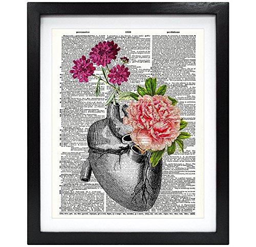 Preisvergleich Produktbild Susie Arts 8 x 10 ungerahmt Blumig Herz aus recycelten Vintage Wörterbuch Kunstdruck Buch Kunstdruck Anatomische Kunstdruck Art Wand V091