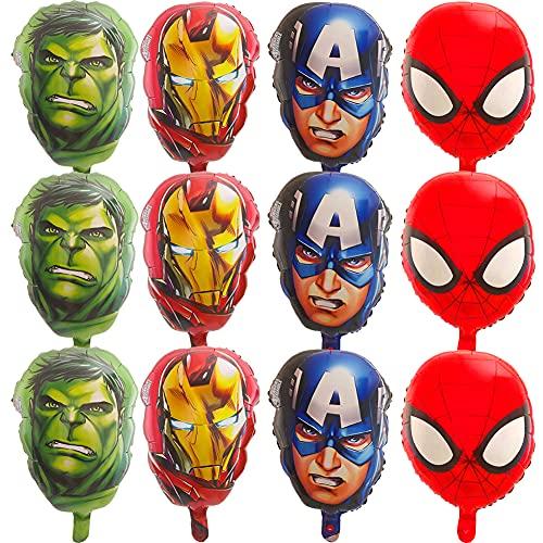 Globos de Superheroes Hilloly 12 Piezas Kit de Decoraciones de Cumpleaños de...