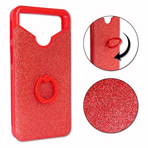 Unbekannt PH26 HISENSE L671 Rückseitenschutz mit Strass-Effekt & Konturen, aus Silikongel, stoßfest, mit Ring für Selfies, Fotos & Videohalterung