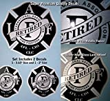 IAFF Retired Firefighter Decal Kit 2pcs Silver Metallic Black High Gloss UV Lamination 0017