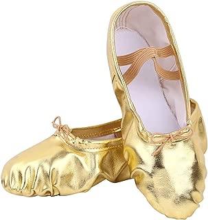 Ballet Shoes Split-Sole Slipper Flats Ballet Dance Shoes for Toddler Girl Kid Women in Gold,Silver,Pink Glitter Colors