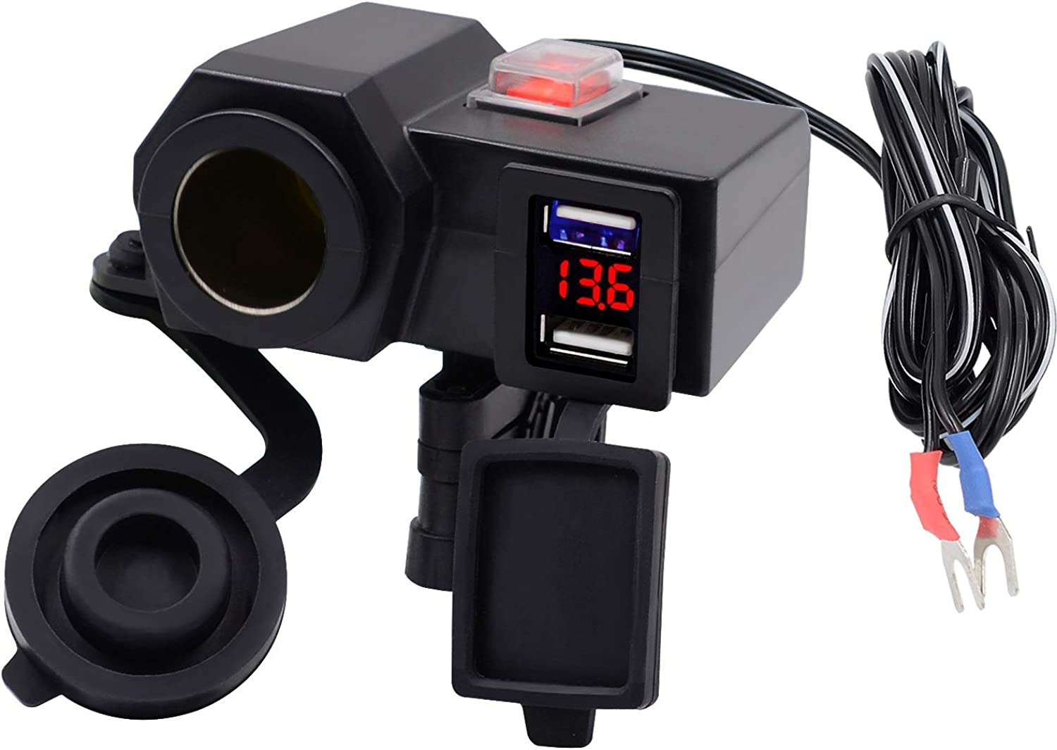 Motorcycle 4.2A Dual USB Charger with Switch Voltmeter Waterproof Cigarette Lighter Socket Motorcycle Phone Charger