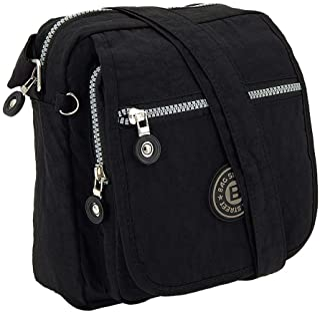 ekavale Kleine modische Damen-Handtasche Umhängetasche aus hochwertigem wasserabwesendem Crinkle Nylon (Schwarz)