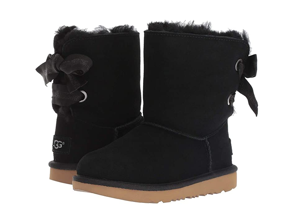 UGG Kids Customizable Bailey Bow II (Little Kid/Big Kid) (Black) Girls Shoes
