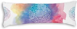 "AILOVYO Watercolor Mandala Round Style Silky Soft Satin Pregnancy Long Body Pillow Cover Pillowcase, 20"" x 54"""
