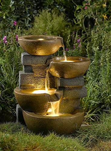 """23"""" LED Lighted Stacked Pots and Rocks Outdoor Patio Garden Water Fountain"""