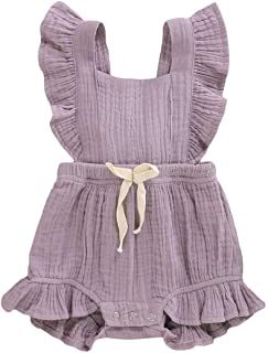 YOUNGER TREE Toddler Baby Girl Ruffled Sleeveless Romper Casual Summer Jumpsuit Cotton Linen Clothes