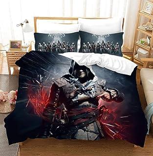 """GuoDamei Assassin""""s Creed Bettwäsche 220x240 cm 3 teilig Bettbezug Mikrofaser Set 1 Bettbezüge mit Reißverschluss und 2 mal 80x80cm Kissenbezug,100% Weiche und Angenehme"""