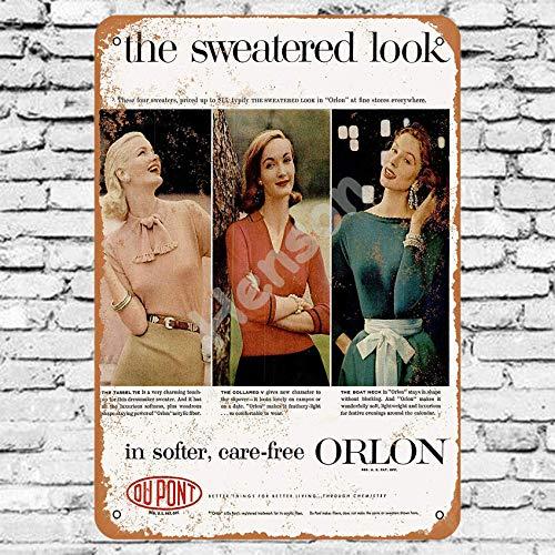 Henson 1956 Du Pont Orlon Truien Traditionele vintage Tin Teken Logo 12 * 8 Reclame Eye-Catching Muurdecoratie