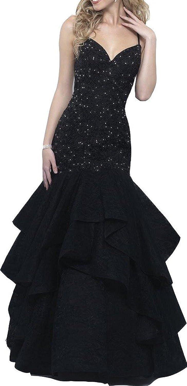 Ellystar Women's Spaghetti Long Beaded New Sleeveless Mermaid Prom Party Dresses