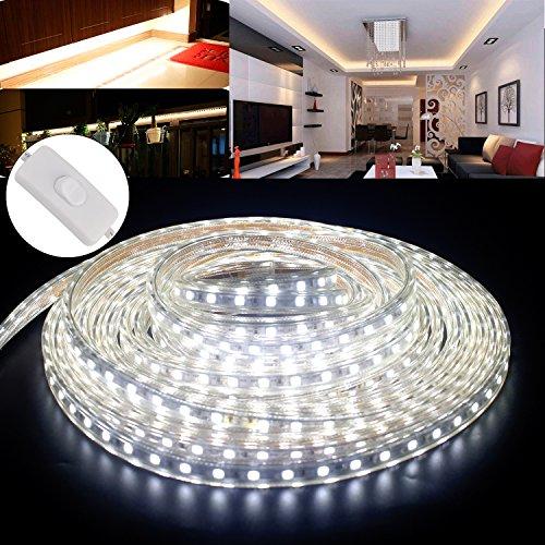3M Ruban LED Bande avec Interrupteur,LED Flexible 5050 IP65 Waterproof étanche Blanc Froid