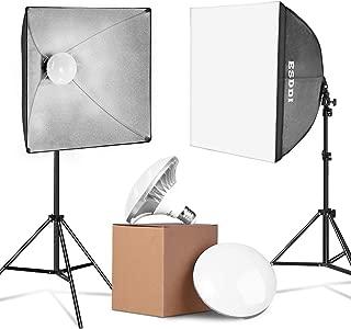 ESDDI 900W LED Photography Softbox Video Lighting Kit 20x20 Inch Professional Photo Studio Equipment with E27 Socket and 2x5500K Instant Brightness Energy Saving Lighting Bulbs