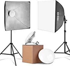 ESDDI Update 900W LED Photography Softbox Lighting Kit 20x20 Inch Photo Studio Equipment with E27 Socket and 2x5500K Instant Brightness Energy Saving Lighting Bulbs