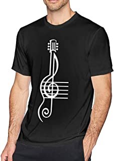 Men's Short Sleeve Crew-Neck Tshirts Treble Clef and Staff with Guitar-1 Printing Tees