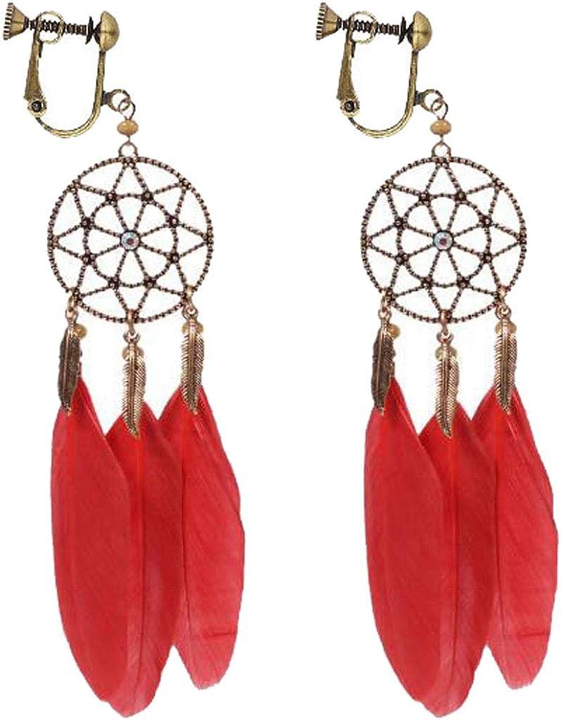 Dream Catcher Clip on Earrings for Women Long Feather Dangle Multi Tassel Religious Lotus Drop