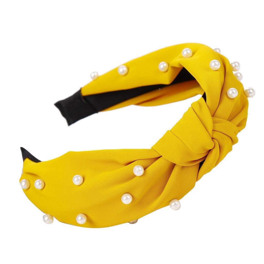 ManxiVoo Women Pearls Beading Twist Knot Hairband Cute Girls Summer Hair Accessories Boho Headbands (Yellow)
