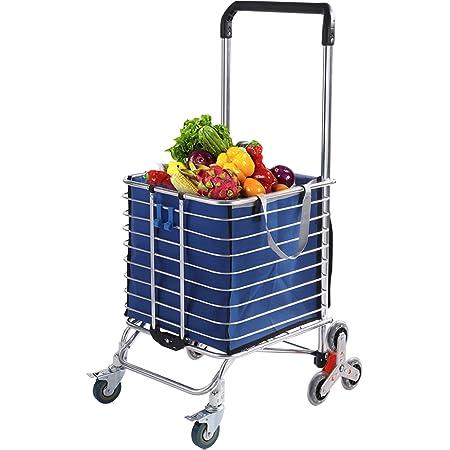 Shopping Cart Shopping Bag Climbing Trolley Case Large-Capacity Supermarket Shopping Trolley Trolley,Yellow,Medium MNSSRN Folding Portable Push-Pull Cart