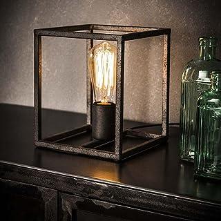 famlights Saskia Lampe de table carrée en métal argenté 1 flamme E27, design industriel | Lampe de table élégante pour sal...