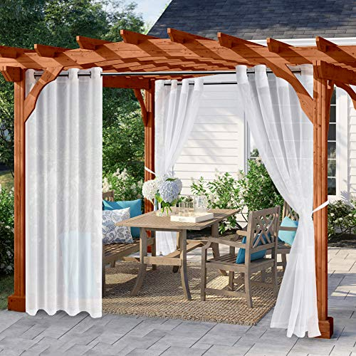 Hiasan Outdoor Sheer Curtain for Patio Waterproof Wind Blowing Curtains Panels with Grommet Top and Tiebacks in Porch Pergola Cabana Gazebo Deck Set of 2 Panels (W52 x L84,White)