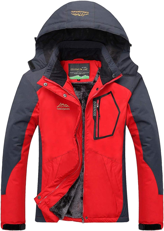 YXP Women's Mountain Waterproof Ski Jacket Windproof Rain Jacket(Oriental Red)