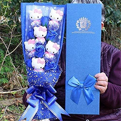 Lovely Cat Vinyl Action Figure Dolls Toy + zeep rozen boeket bloemen Cartoon Creative Valentijnsdag Blue