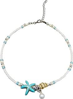Metme Starfish Anklet Boho Beach Sea Beads Simulate Pearl Ankle Bracelets Handmade Foot Jewelry