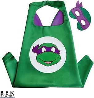 Bek Brands Teenage Mutant Ninja Turtles Donatello Superhero Cape and Mask Set   Dress up Satin Cape and Felt Mask