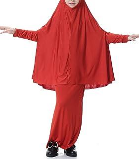 少女イスラム教徒ソリッドカラールーズフード付きローブロングスカートM-XL