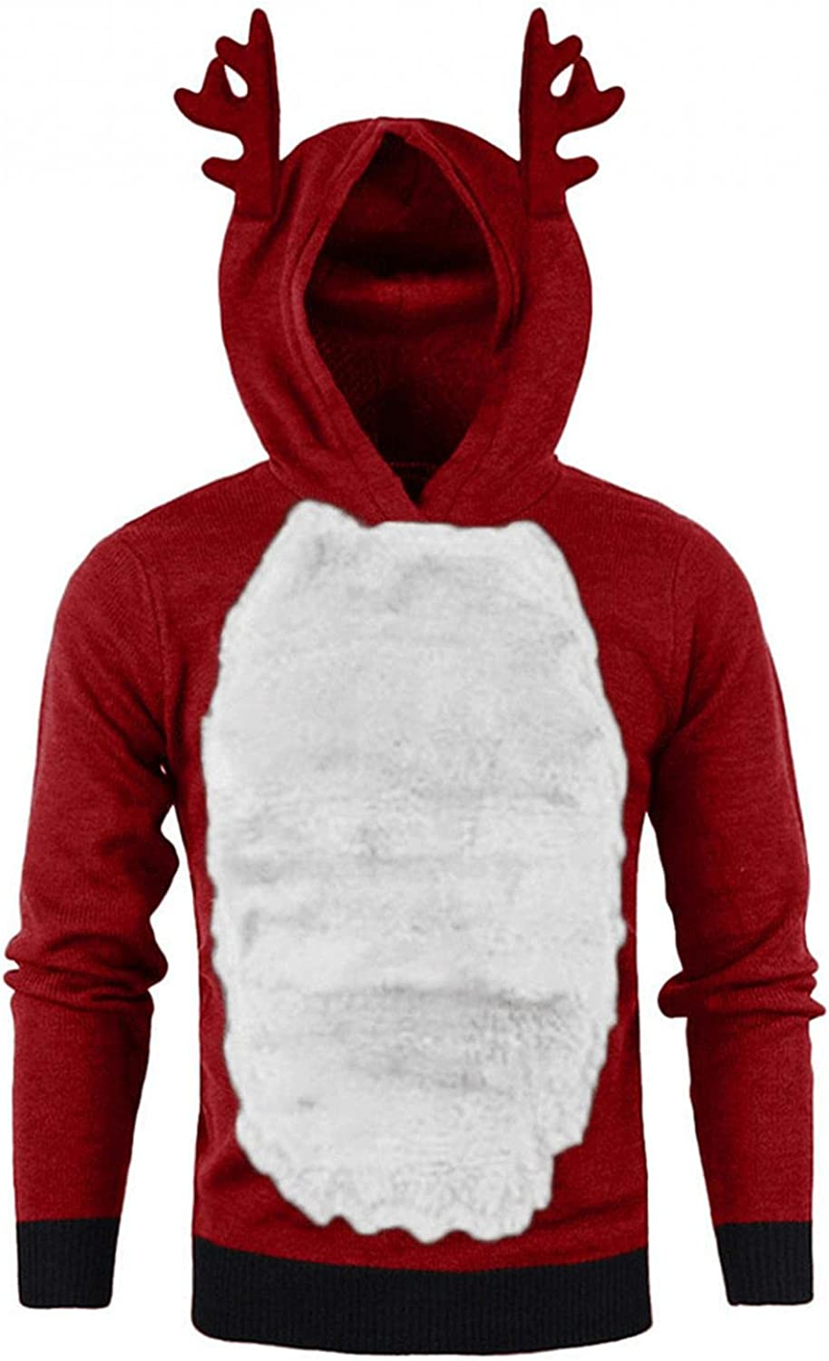 Hoodies for Men Men Winter Xmas Hoody Red Feather Hooded Christmas Contrast Color 3D Blouse Top Sweatshirts Fashion Hoodies