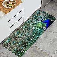 GUVICINIR キッチンマット 洗える 45*120cm 細長い雄大な羽の開いた翼の写真を表示する孔雀 キッチンマット 滑り止め 柔らかく おしゃれ 台所 マット お手入れ簡単
