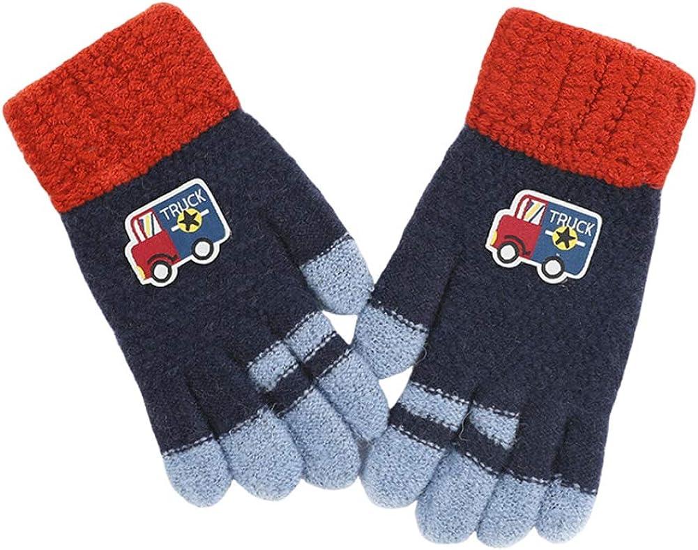CHUANGLI Kids Warm Winter Full Finger Gloves Thick Fleece Lined Touchscreen Gloves Magic Stretch Mittens