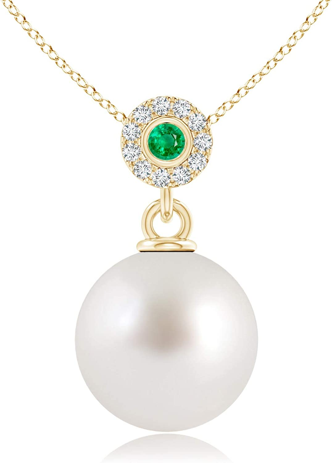 South Sea Cultured Pearl store Halo Pendant with 10mm Bezel Limited time cheap sale S Emerald