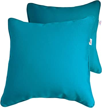 Vanteriam 2 Pack Decorative Outdoor Solid Waterproof Throw Pillow Cover with Piping, Accent Pillow case for Outdoor Patio Fur