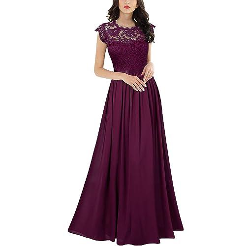 84f9bb8003 Miusol Women s Formal Floral Lace Evening Party Maxi Dress